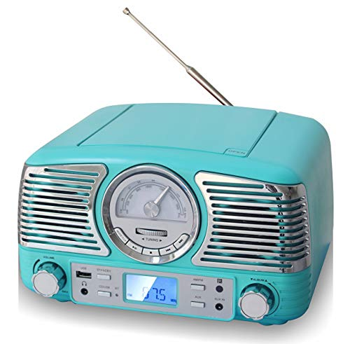 TechPlay QT62BT, Retro Design Compact Stereo CD, with AM/FM Rotary knob, Wireless Bluetooth Reception, and USB Port. with AUX in and Headphone Jack (Turqouise)