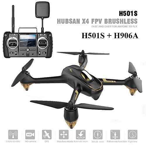 HUBSAN H501S X4 Brushless Drone GPS 1080P HD Cámara FPV Cuadricóptero con H906A Transmisor Negro Pro Versión(2 Baterias de Drone)