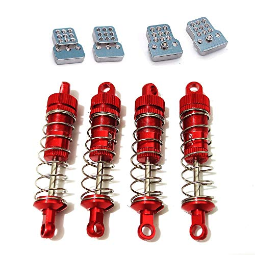 Gravo 4Pcs Metal Shock Absorber with Extension Seat for WPL C14 C24 MN D90 HS 18301 Wltoys A959 K929 Rc Car Upgrades,Red