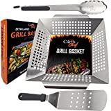 Extra Large Vegetable Grill Basket Barbecue Grilling Wok & Accessories Heavy Duty Stainless Steel Tray for outdoor Grill, Pan Smoking Meat & Veggies utensil set with Tongs & Spatula Fits All Grills