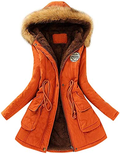 BBTRE Womens Coat Hooded Plain Outdoor Parka Windbreaker Winter Long Sleeve Thickened Down Cotton Faux Fur Lined Warm Zipped Coats (Orange,S)