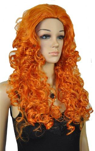 Qiyun Femme Longue Orange Boucle No Frange Cosplay Costume Partie Complete Cheveux Perruque