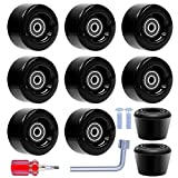 Tanzfrosch 8 Pack Roller Skate Wheels with Bearings Installed and 2 Toe Stoppers for Double Row Skating, Quad Skates and Skateboard Outdoor or Indoor Use, 32mm x 58mm 82A (Black)