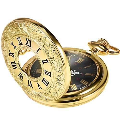 orologio da taschino oro Vintage Oro Orologio da Tasca Acciaio Uomini Orologio con Catena