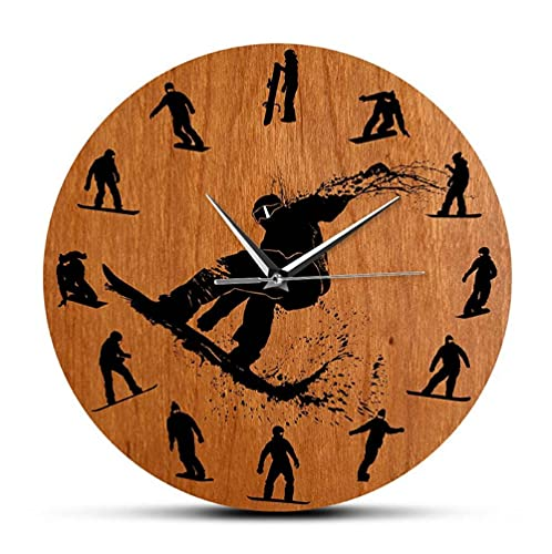 30 cm Reloj de Pared Reloj de Pared de diseño Moderno con Siluetas de Snowboarders, Accesorio de Deporte de Invierno, Reloj de Arte de esquí, Reloj de Pared, decoración, Regalo de Esquiador