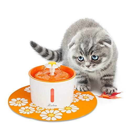 FONLAM Fuente para Gato Perrito Perro Cachorro Bebedero Automático de Silencio con Filtro + Alfombrilla Impermeable Dispensador de Agua Mascota 1,6L Higiénico (Naranja)