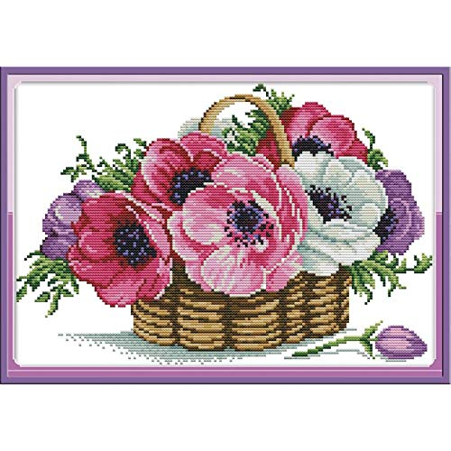 Cross Stitch Kits Pre-Printed Cross Stiching Stamped Cross Stitch Kit 14CT DIY Art Crafts for Beginners (A Basket of Flowers)