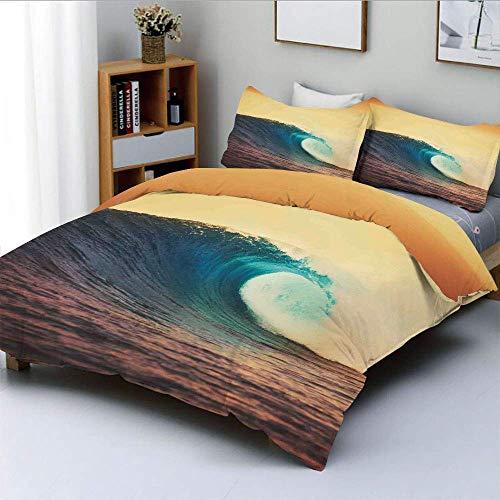 Juego de funda nórdica, Ocean Breaking Wave al atardecer en colores cálidos Seacoast Seasonal Picture Art Juego de cama decorativo de 3 piezas con 2 fundas de almohada, Turquesa Amarillo Marrón, El me