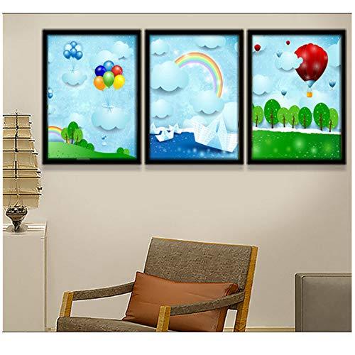 Jin Yi Global Canvas wandkunst 3 Stuks Cartoons papier vouwen vliegtuigen ballonnen regenbogen kinderen kamer decoraties muur foto's-50x70cm Geen frame