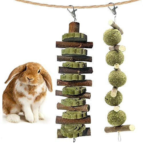 Touker Bunny Chew Toys for Teeth Grinding, 2 Pack Natural Organic Apple Wood Sticks and Timothy Grass Cake Balls for Guinea Pigs Hamsters Chinchilla Parrots Dwarf Rabbits Squirrels and Gerbils