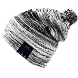 Mydeal Winter Fashion Bluetooth Beanie Hat Pom Pom Knit Music Cap with Removal Speakers & Mic Hands Free Wireless Headphones Headsets Earphone for Running Skiing Skating Hiking,Christmas Gifts - Black