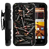 TurtleArmor   Compatible with ZTE Speed Case   N9130 [Hyper Shock] Rugged Reinforced Armor Hybrid Hard Shell Kickstand Fitted Silicone Holster Belt Clip War and Military - Black Bullets