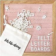 Felt Letter Board, 10x10in Changeable Letter Board with Letters White 300 Piece - Felt Message Board, Oak Frame Wooden Letter Board for Baby Announcements, Milestones, Office Decor & More (Light Pink)