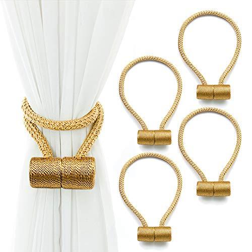 RISHNEG Magnetic Curtain Tiebacks, 4 Pack Decorative Curtain Holdbacks, 16 Inch Long Decorative Rope Holdback Holder Simple Modern Tie Backs Holders for Small Thin or Sheer Window Drapries (Gold)