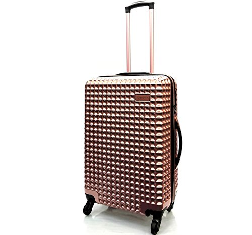 "24""/68cm Large Premium Super Lightweight Waffle Style PC Durable Hard Shell Luggage Suitcase Travel Trolley Cases with 4 Wheels Spinner & Built-in TSA Lock, Weighs only 3.5KG! (24' Medium, Rose Gold)"