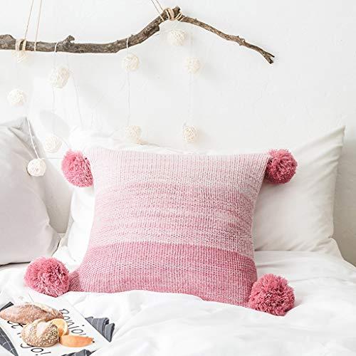 Almohada Almohada de Viaje Cojín de juguete de felpa de punto hecho a mano de la borla de la almohadilla de bolas extremo del sofá amortiguador de la almohadilla de la decoración del color del gradien
