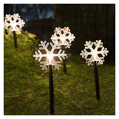 Weihnachtsbeleuchtung, Acryl Tanne, Sterne und Schneeflocke Gartenleuchte, Batteriebetrieb Außenleuchte Weihnachtsdeko Gartendeko Dekoleuchte (Schneeflocke, 5er Set)