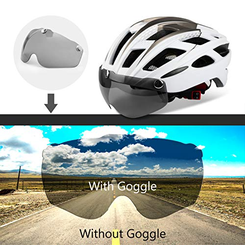 Shinmax casco bici con luces de led y gafas