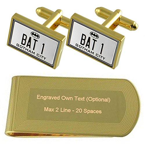 Batman Bat 1 placa de número de tono Oro gemelos Money Clip grabado Set de regalo