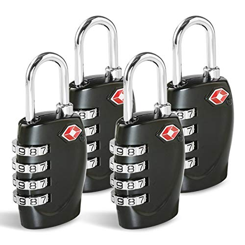 CFMOUR TSA Suitcase Locks - 1, 2, 3, 4, 5, 6 Pack 4-Dial Travel Combination Security Padlock for Suitcases Luggage Case Bag Code Lock - Black (Pack of 4)