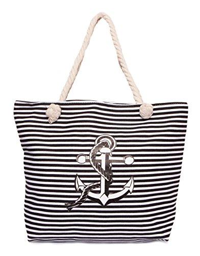 CAPRIUM Strandtasche in Streifen Optik mit Anker, Schultertasche, Shopper, Damen 0009004 (Schwarz)