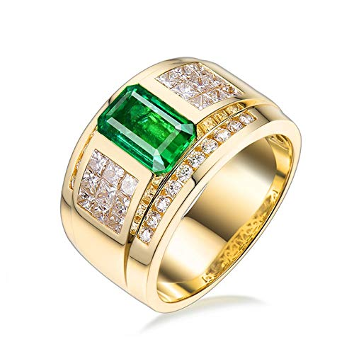 Aartoil Hombre oro amarillo 18 quilates (750) radiante Green White Emerald Diamond