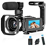 Video Camera Camcorder WiFi HD 1080P 36MP Digital Camera IR Night Version Vlogging Camera Recorder 3.0 Inch Screen 16X Zoom with 2 Batteries, Microphone, 2.4G Remote, Stabilizer Hood