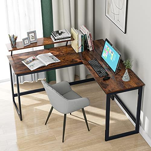 DreamMespace L - Escritorio de ordenador con esquina, mesa de trabajo para casa, oficina, industrial, color marrón