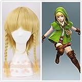 La légende de Zelda Link perruque or avec 2 tresses fille lien perruque cosplaylien jeu de rôle cheveux d'or avec des cheveux net livraison gratuite