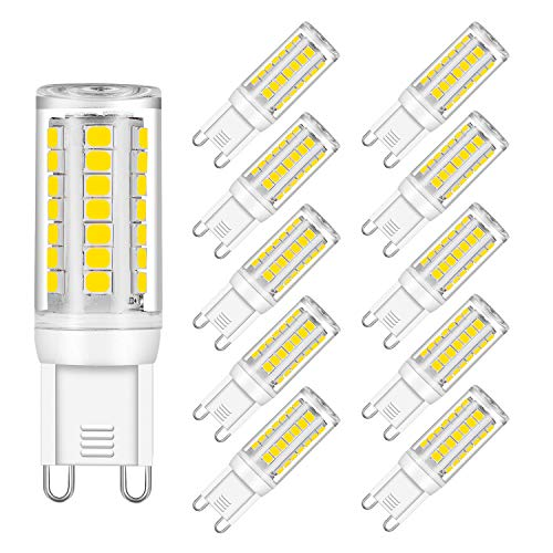 G9 LED Bulb Dimmable, Warm White, 6W Equivalent 40W, 50W, 60W Halogen, 3000K, 540LM Light, AC 120V CRI 82, G9 Base (10 Pack) by Eco.Luma