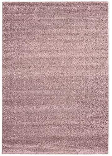 MIA´s Teppiche Scarlett Alfombra de salón, Color Morado, 160 cm, Redonda, Moderna, Suave, Pelo Corto (20 mm), Polipropileno, 15 cm