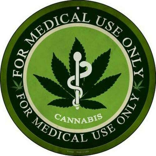 Marijuana Leaf Cannabis Medical Use Only Rustic Vintage Round Tin Sign Metal Retro Poster Shop product image