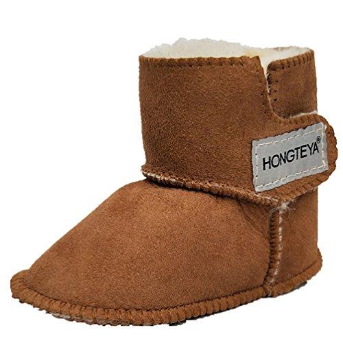 HONGTEYA Sheepskin Baby Bootie -100% Pure Australian Sheepskin Baby Girl's Winter Boots (Infant) (13cm 5.11inch 0-6months, Brown)