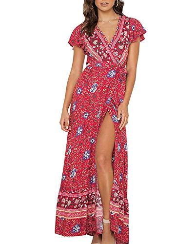 Abravo Mujer Vestido Bohemio Corto Florales Nacional Verano Vestido Casual Magas Cortas Chic de Noche Playa Vacaciones