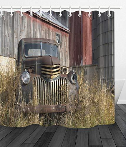 JYEJYRTEJ Alter Vintager Bauernhof-LKW Duschvorhang für Badezimmer, waschbar, schnell trocknend, 3D-HD-Druck, 12 Haken, 180 * 180 cm, Badzubehör der Scheune