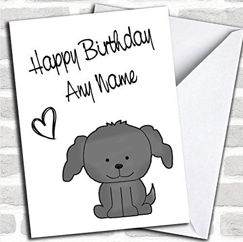 Leuke grijze Stick Hond Verjaardagskaart Met Envelop, Kan Volledig Gepersonaliseerd, Verzonden Snel & Gratis