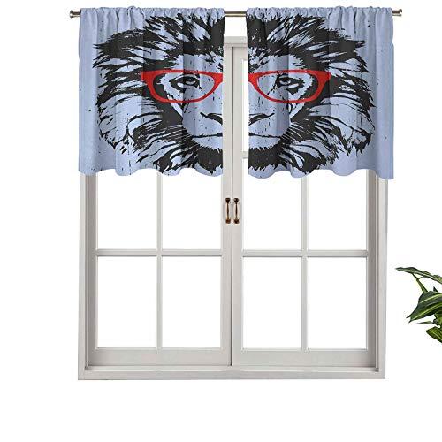 Cortina opaca corta con bolsillo para barra de visillo, diseño de león grunge con gafas hipster, Nerd Humor Comic, juego de 2, cortinas de cocina de 137 x 91 cm para sala de estar