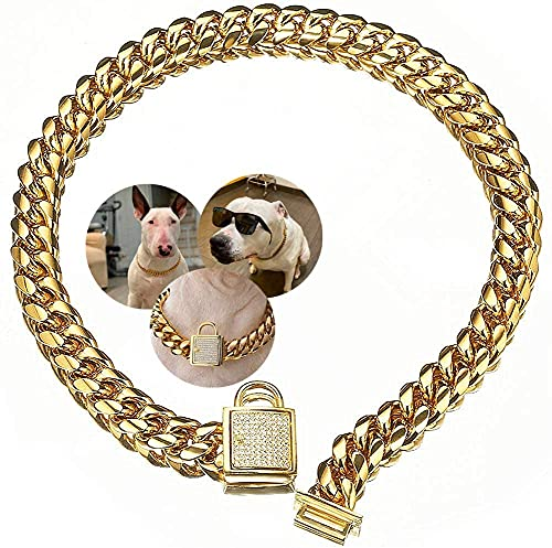 Aiyidi Dog Chain Collar Stainless Steel Gold Dog Chain Collar with Zirconia Lock Luxury Dog Necklace 14MM Heavy Duty Choke Collar Cuban Chain Chew Proof Collar for Small Medium Large Dogs (16inches)