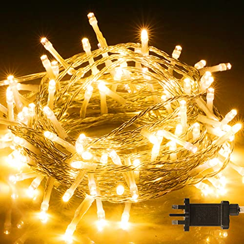 100 LED Fairy Lights Outdoor, BIGHOUSE 10M/32.8ft 8 Lighting Modes Waterproof LED String Lights Mains Powered for Garden Gazebo Bedroom Wedding Christmas Decoration, Warm White