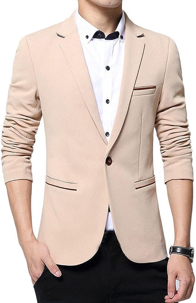 Chaqueta de Traje para Hombre, Slim Fit Americana Color Puro, Blazer Casual de Manga Larga Abrigos Elegantes Blazer Chaquetas Elegantes