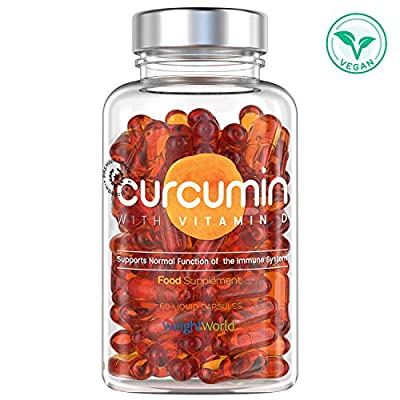 Curcumin with Vitamin D - Tumeric Superfood Supplement - Powerful 500 Strength - 60 Vegetarian Curcumin Vitamin D Liquid Capsules by MaxMedix