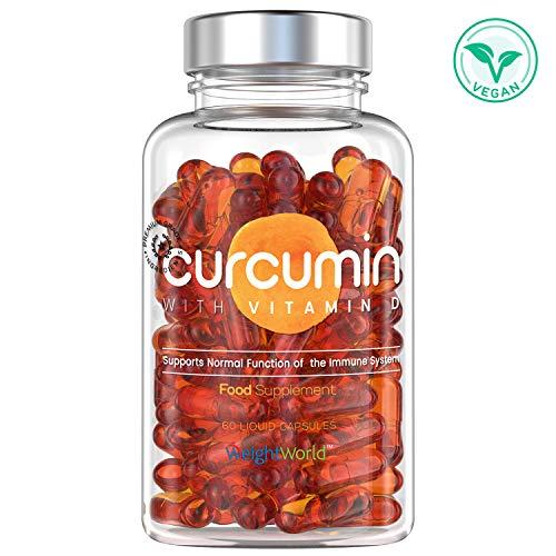 Premium Kurkuma Kapseln mit Vitamin D3 - Curcumin Extrakt mit Vitamin D, NovaSOL Curcuma Komplex für Knochen, Gelenke, Muskeln & Immunsystem - 60 Entzündungshemmende Tabletten hochdosiert & Vegan