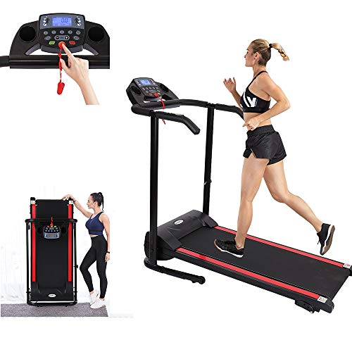 TOUNTLETS Folding Treadmill Electric Running Treadmills for Home with LCD Monitor,Pulse Grip & Safe Key Running Walking Exercise Fitness Machine Space Saving for Home Gym,1100W Proform Treadmill