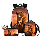 Dispalang Horse Backpack and Insulated Lunch Box Bag School Cooler Bag Animal Bookbag Pencil Case