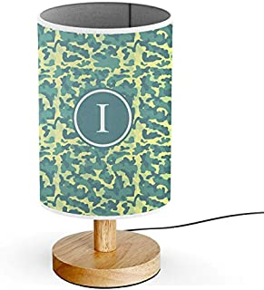 [ INITIAL LETTER I ] Monogram Name USB POWERED Wood Base Desk Table Bedside Lamp [ Yellow Teal Camouflage ]