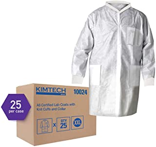 Kimtech A8 Certified Lab Coats with Knit Cuffs and Collar (10024), Protective 3-Layer SMS Fabric, Knit Collar & Cuffs, Unisex, White, 2XL, 25 / Case