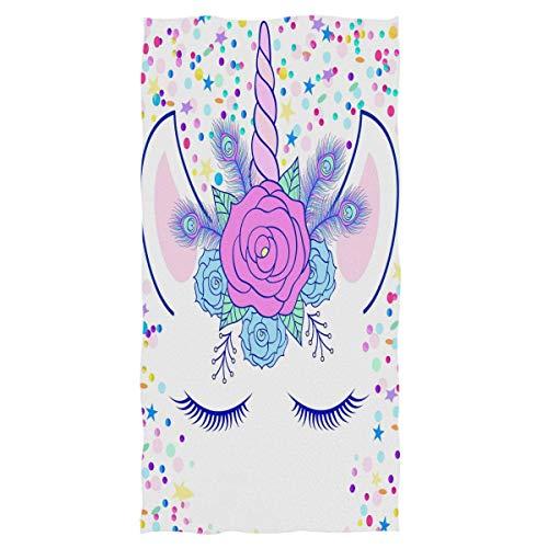 rodde Handtuch 15x30 Zoll Einhorn Handcreme Einhorn Magic Head Badezimmer Ultra Soft hochsaugfähig Mehrzweck für Hand, Gesicht, Fitnessraum, Sport und Spa Home Decor