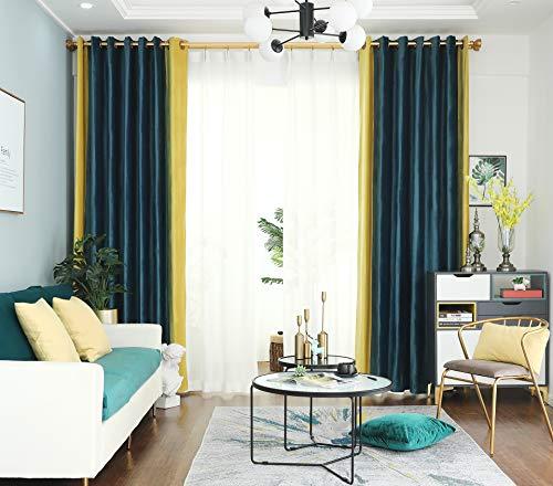 "PROSPEROSE {Unique Color Combination} Dual Coloured Thick Thermal Holland Velvet, Blackout Machine-Washable Curtain (Navy Blue & Royal Yellow, 52"" W x 90"" L, 1 Panel)"