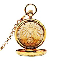 Nature Emerald Jade Gold Dragon Pocket Watch Vintage Roman Numerals Quartz Watch with Chain As Xmas Day Gift,1 #2