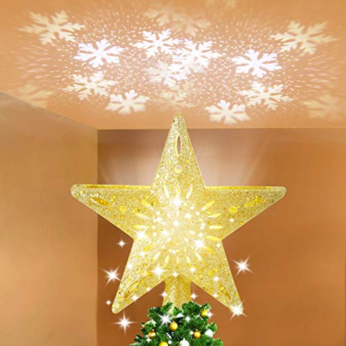 LUNSY Christmas Snowflake Tree Topper, 3D Hollow Lighted Tree Topper with White Rotating Snowflake, for Xmas Tree Decoration - Golden Star
